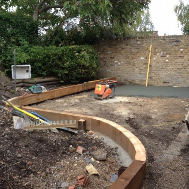Garden design using sleepers Blackheath